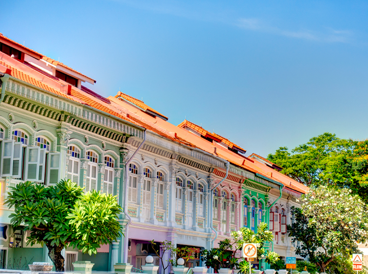 colourful shophouses peranakan district singapore