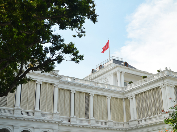 view of the istana with singapore flag